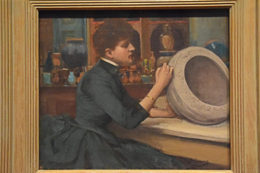 "Woman Painting a Pot, 1888, John Lavery, Kelvingrove Museum, Glasgow, Scotland. Lavery was inspired by the demonstrator at the Doulton pottery stand at the Glasgow International Exhibition. ""She had been a fascinating red-haired beauty, attracting crowds by her dexterity in decorating vases."""