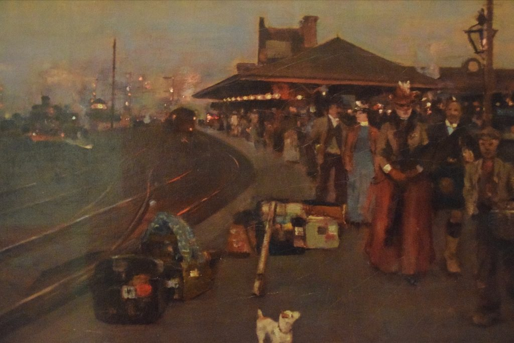 Stirling Station, 1887, William Kennedy, Kelvingrove Museum, Glasgow, Scotland. These twilight paintings were made fashionable by Whistler.