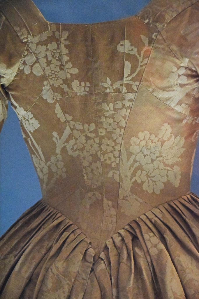 Detail of dress belonging to Antonina Willoughby, 1780s (?), Kelvingrove Museum, Glasgow, Scotland