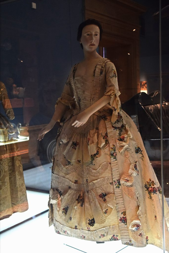 Robe a l'Anglaise of brocaded silk, c1765, Kelvingrove Museum, Glasgow, Scotland