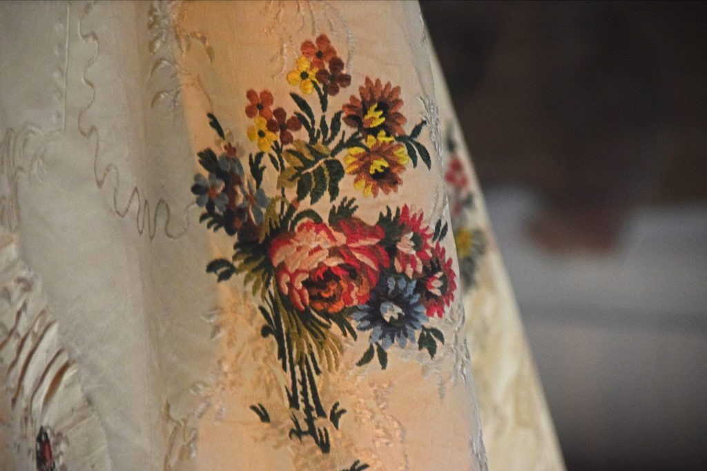 Detail of a robe a l'Anglaise of brocaded silk, c1765, Kelvingrove Museum, Glasgow, Scotland