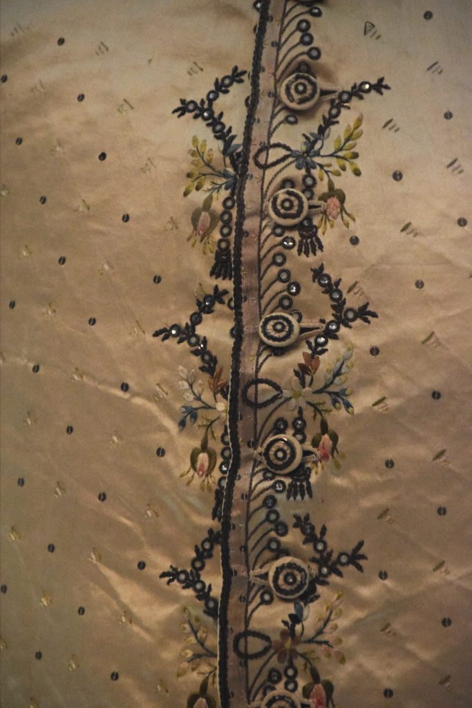 Detail of silk waistcoat embroidered with silk, paste and metal, c1760/70, Kelvingrove Museum, Glasgow, Scotland
