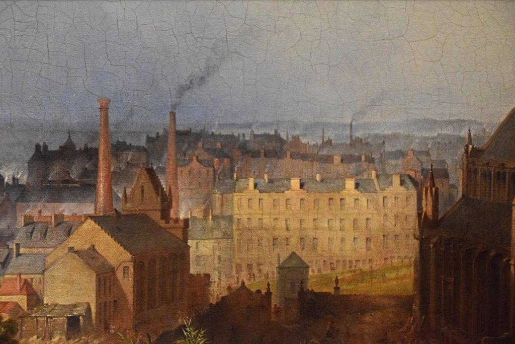Detail of view of Glasgow and the Cathedral, c1840, John Adam Plimmer Houston, Kelvingrove Museum, Glasgow, Scotland