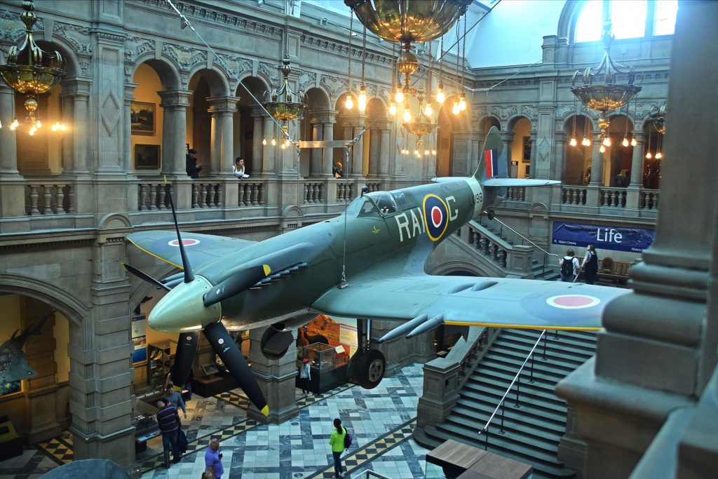 Mark 21 Spitfire, 1944, Kelvingrove Museum, Glasgow, Scotland. It flew with the 602 (City of Glasgow) Squadron between 1947-1949.