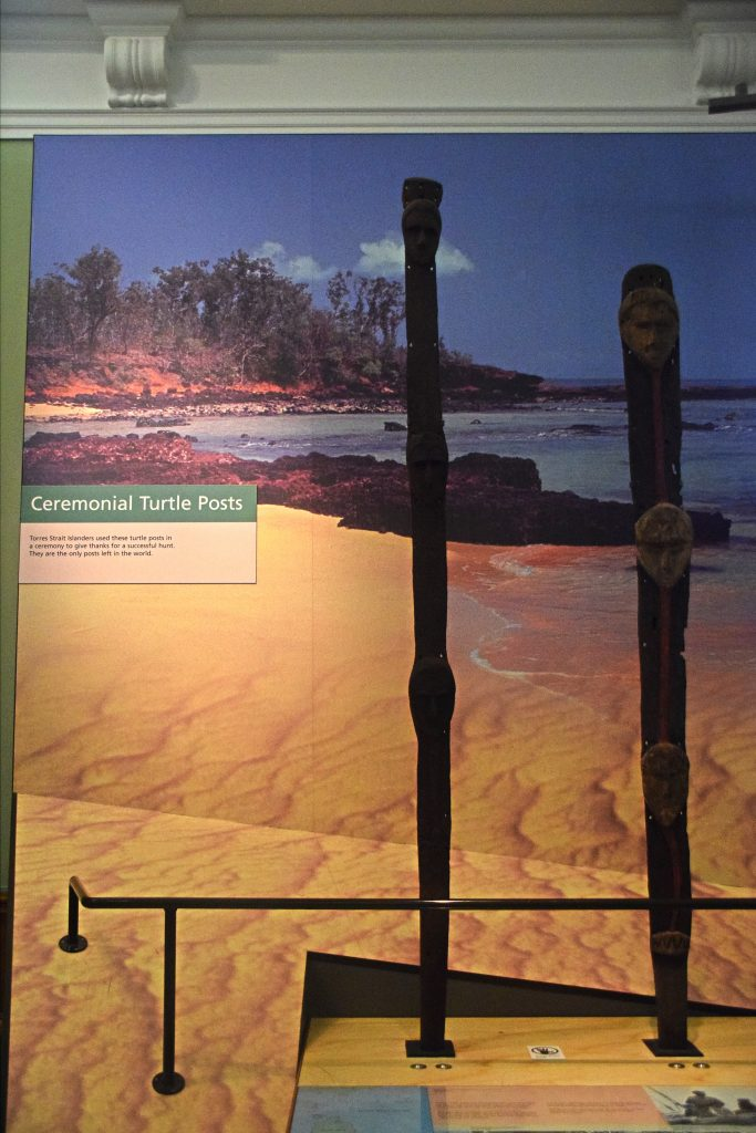 Turtle Posts, Kelvingrove Museum, Glasgow, Scotland.  Torres Strait Islanders used these posts to celebrate a successful hunt.  They are the only posts left in the world.