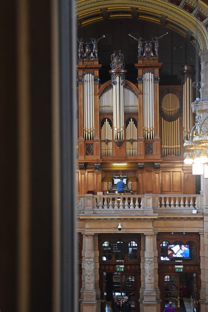 The Organist Entertains in Kelvingrove Museum, Glasgow, Scotland.  Kelvingrove's organ was built in 1901 by Lewis and Co, of London. There are daily recitals - which is a little disconcerting when you're not expecting it and you think Vincent Price has appeared.