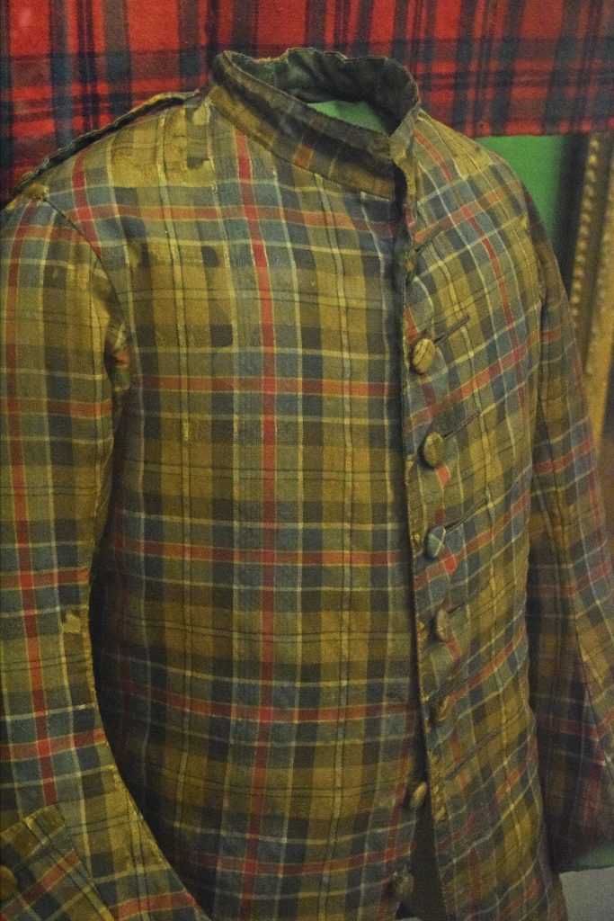 Man's tartan coat, mid-1700s, wool, Kelvingrove Museum, Glasgow, Scotland.  Rare coat shows how tartan started to be used for tailored clothes in this period.