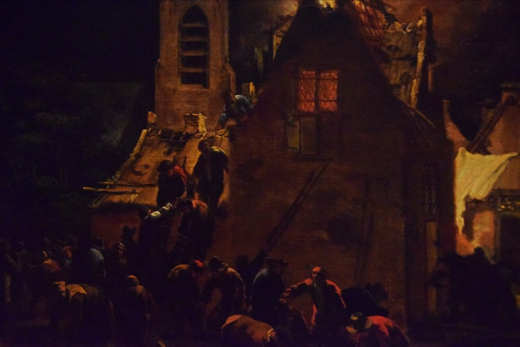 Detail from A Fire at Night, 1655/60, Egbert van der Poel, Kelvingrove Museum, Glasgow, Scotland