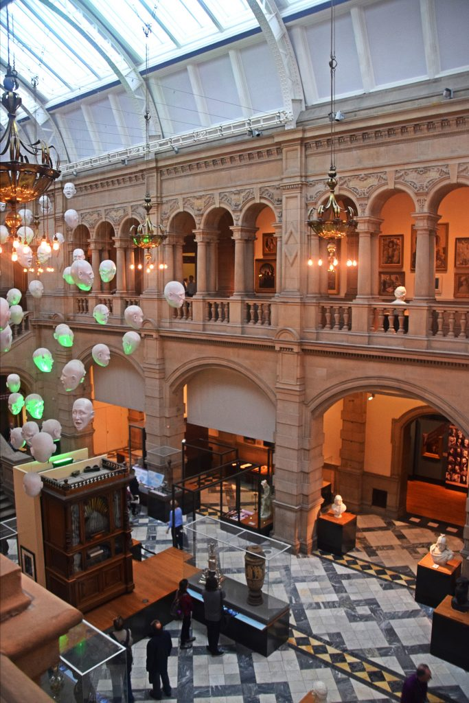 A view from above in Kelvingrove Museum, Glasgow, Scotland