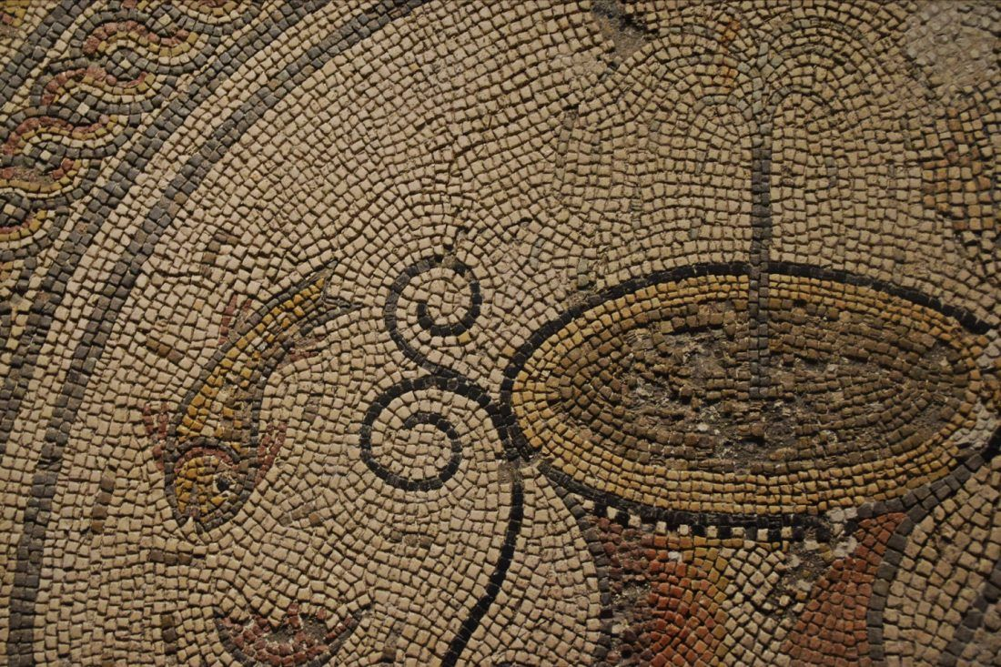 Detail of a polychrome mosaic of a fountain with fish, Augusta Raurica, Switzerland