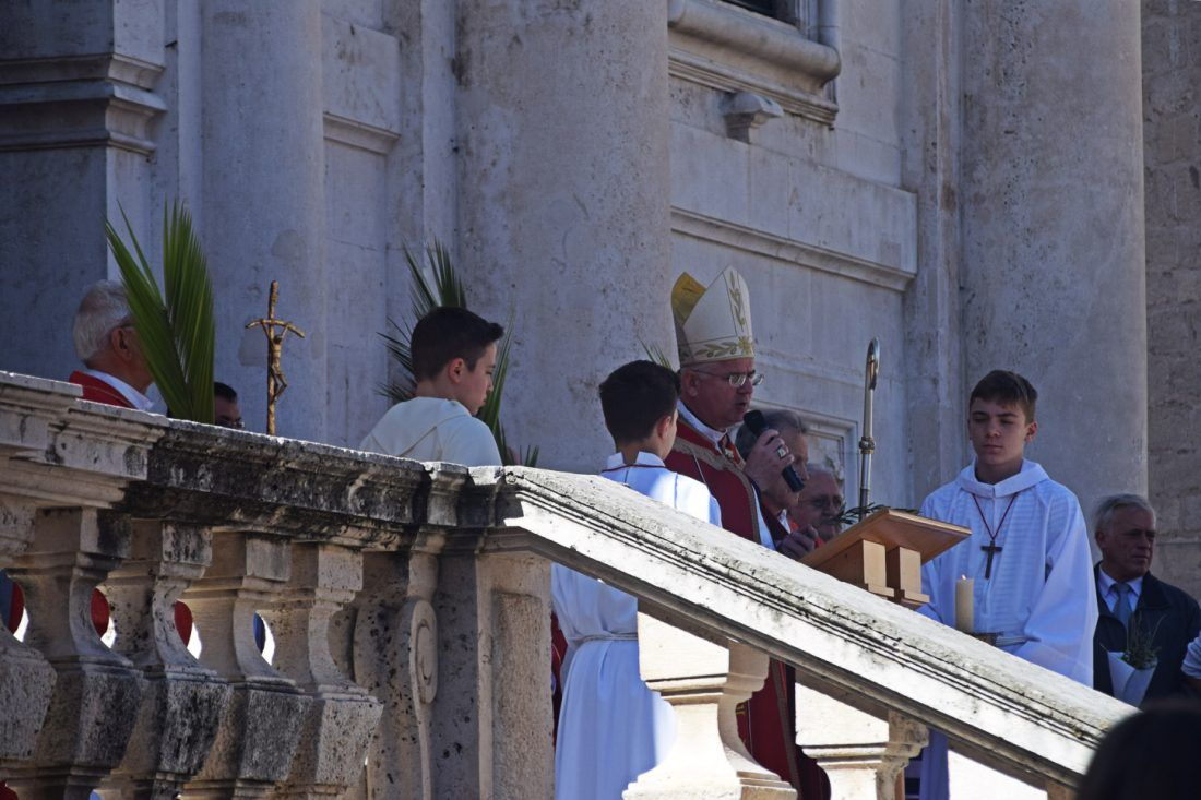 On the steps of St Blaise, Dubrovnik, Croatia. A short, open-air service was held, before everyone marched back to the Cathedral.